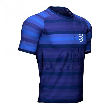 Tee-shirt de running léger et technique Compressport Racing SS Tshirt Blue pour homme | AM00016B-500_1