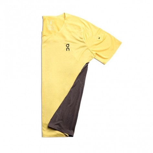 Tee-shirt de course technique On Running Performance-T Mustard/Pebble pour homme   102.00117_1