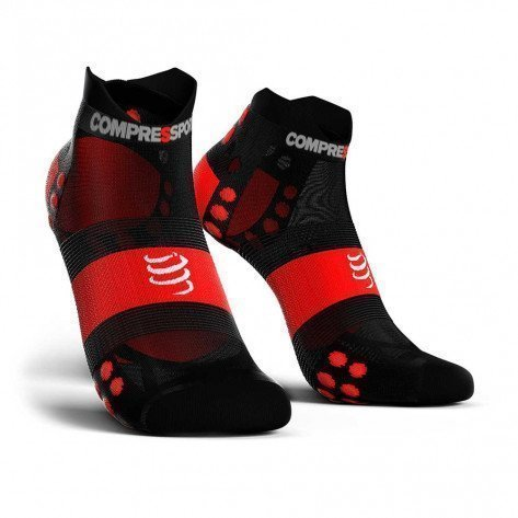 Chaussettes Compressport ProRacing Socks V3.0 Ultralight Run Low Noires et Rouge