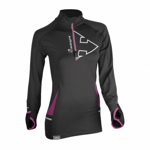 Tee-Shirt Manches Longues à Col 1/2 Zip Raidlight Wintertrail Noir et Violet pour Femme