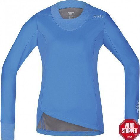Tee-Shirt Manches Longues Gore Running Wear Sunlight Windstopper Soft Shell Bleu pour Femme