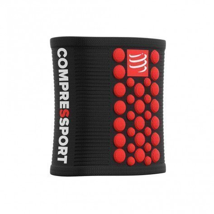 Serre-poignet éponge Compressport Sweatbands 3D-DOTS Black/Red unisexe | WSTV2-99RD_1