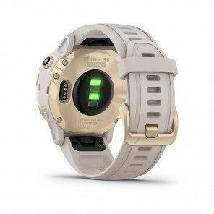 GARMIN fenix® 6S Pro Solar, Light Gold avec bracelet beige