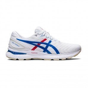 Chaussures entraînement marathon premium Asics Gel-Nimbus 22 Retro Tokyo White/Electric Blue pour homme | 1011A780-100_1