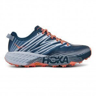 Chaussures de trail running offrant accroche et sécurité Hoka One One Speedgoat 4 Majolica Blue / Heather pour femme | 1106527-MBHH_1