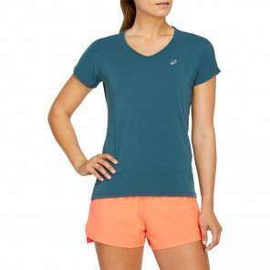 Tee-shirt manches courtes de running ASICS V-NECK SS TOP Magnetic Blue pour femme | 2012A981-401_1