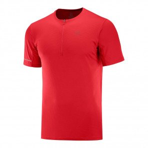 Tee-shirt technique de running Salomon Agile HZ SS TEE Goji Berry/Red Dahlia pour homme | C12814_1
