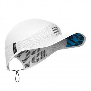Casquette légère de running, trail ou triathlon Compressport Pro Racing Cap White unisexe | CU00003B-001_1