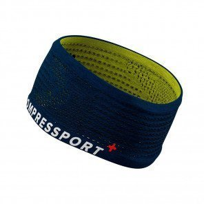 Bandeau large Compressport Headband On/Off Bleu/Lime