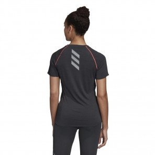 adidas Tee-shirt Runner Noir et Rose pour Femme