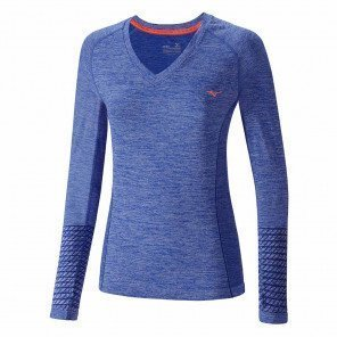 Tee-Shirt Manches Longues Mizuno Tubular Helix Violet et Rose pour Femme